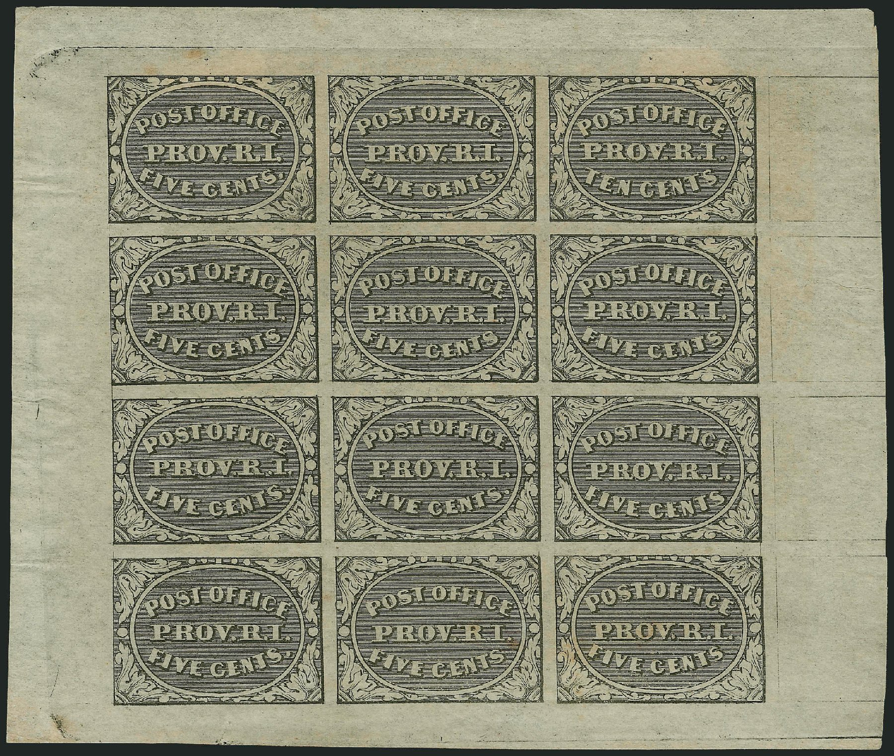 Prices of US Stamp Scott Cat. # 10X2 - 5c 1846 Providence Postmasters Provisional. Robert Siegel Auction Galleries, Dec 2013, Sale 1062, Lot 16