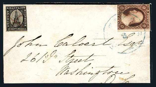 US Stamp Prices Scott Catalog #11: 3c 1851 Washington. Harmer-Schau Auction Galleries, Aug 2015, Sale 106, Lot 2190