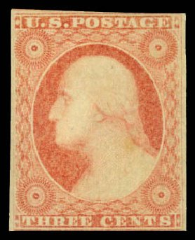 Cost of US Stamp Scott Cat. 11 - 1851 3c Washington. Daniel Kelleher Auctions, Jan 2015, Sale 663, Lot 1221