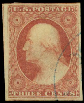US Stamps Value Scott Cat. #11 - 1851 3c Washington. Daniel Kelleher Auctions, May 2015, Sale 669, Lot 2394