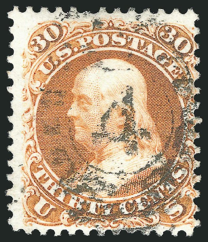 US Stamps Values Scott Cat. # 110 - 30c 1875 Franklin Without Grill. Robert Siegel Auction Galleries, Nov 2014, Sale 1084, Lot 3308