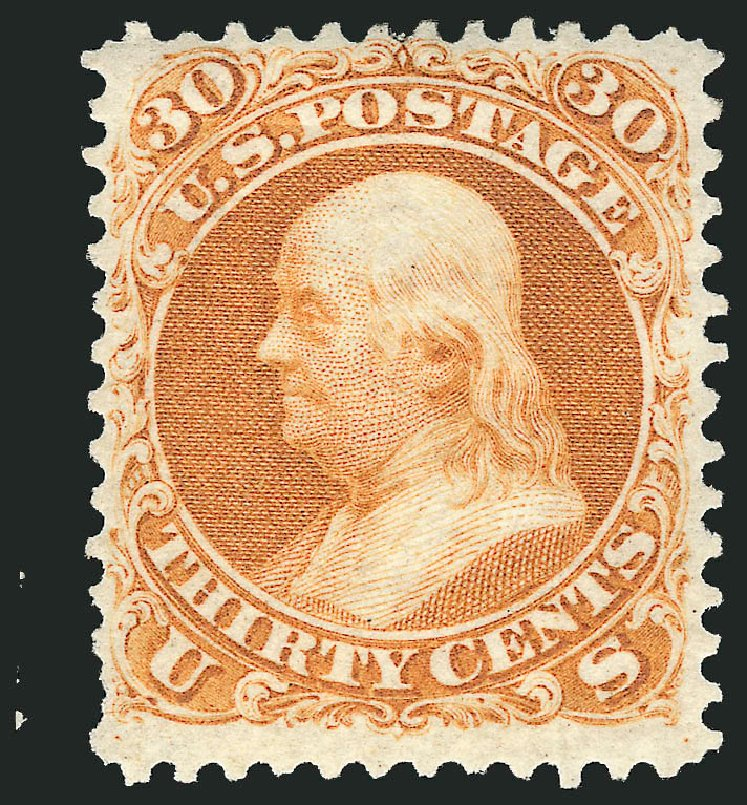 Cost of US Stamp Scott Catalogue #110 - 1875 30c Franklin Without Grill. Robert Siegel Auction Galleries, Apr 2015, Sale 1096, Lot 208