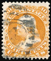 Costs of US Stamps Scott Catalog # 110: 30c 1875 Franklin Without Grill. Schuyler J. Rumsey Philatelic Auctions, Apr 2015, Sale 60, Lot 2079