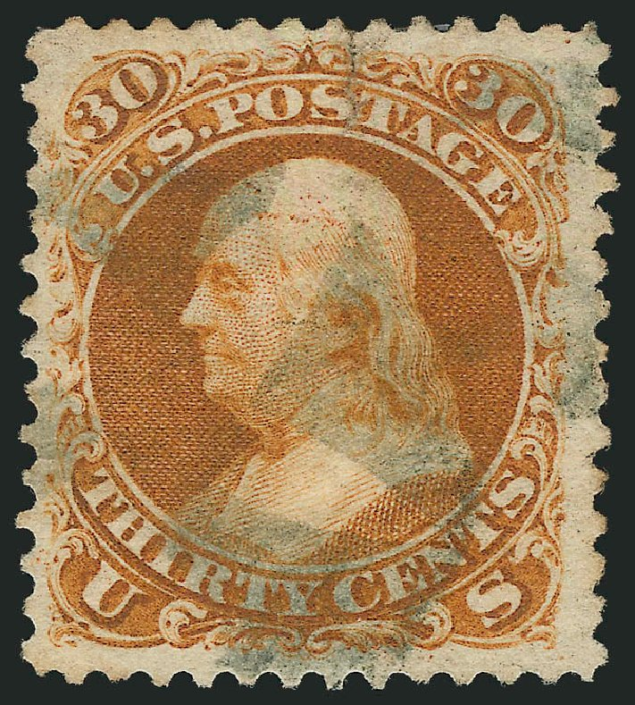 US Stamp Prices Scott Cat. #110 - 30c 1875 Franklin Without Grill. Robert Siegel Auction Galleries, Jun 2015, Sale 1106, Lot 3110