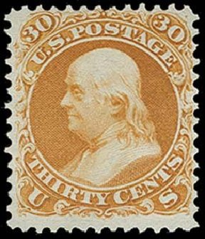 Values of US Stamps Scott Catalogue #110: 30c 1875 Franklin Without Grill. H.R. Harmer, Oct 2014, Sale 3006, Lot 1161