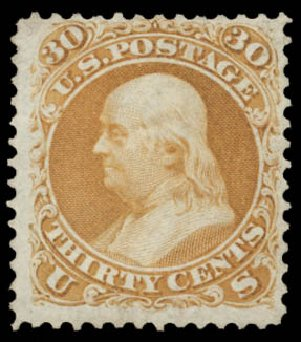 Cost of US Stamp Scott Cat. #110 - 1875 30c Franklin Without Grill. Daniel Kelleher Auctions, May 2015, Sale 669, Lot 2554