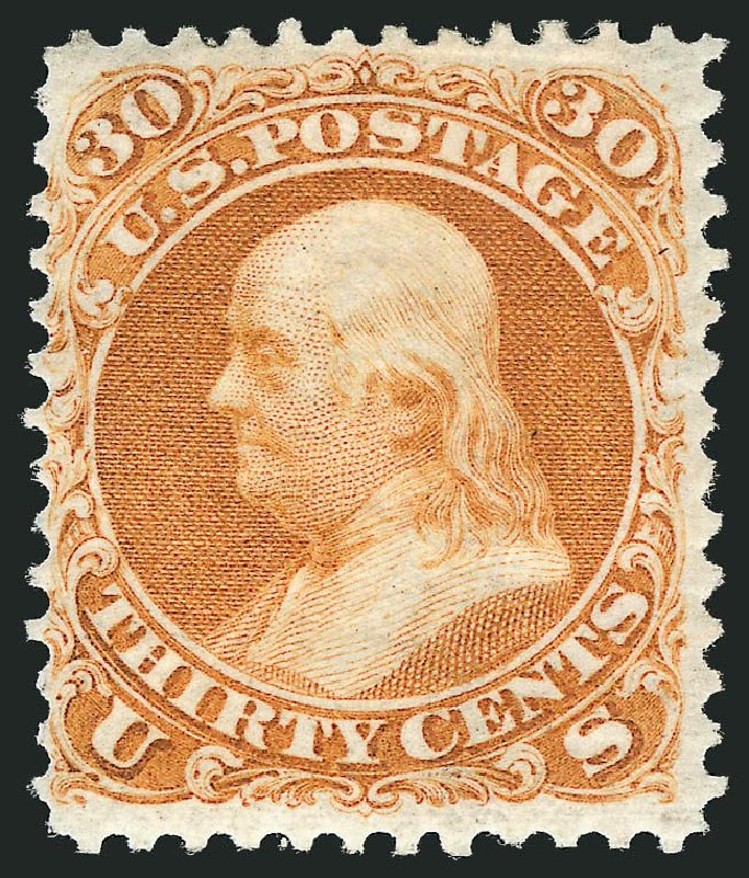 US Stamp Value Scott #110 - 30c 1875 Franklin Without Grill. Robert Siegel Auction Galleries, Dec 2014, Sale 1090, Lot 1255