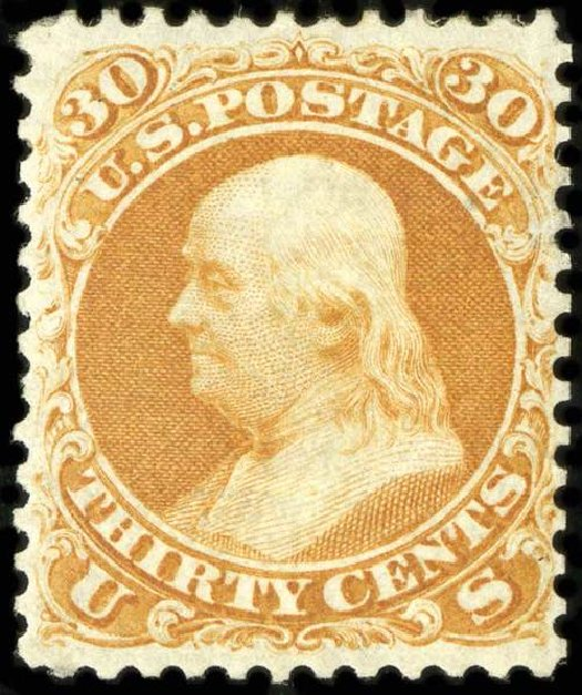 Value of US Stamp Scott Cat. # 110: 30c 1875 Franklin Without Grill. Spink Shreves Galleries, Jul 2015, Sale 151, Lot 95