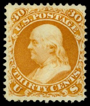 Values of US Stamps Scott Catalog #110: 1875 30c Franklin Without Grill. Daniel Kelleher Auctions, Dec 2014, Sale 661, Lot 113
