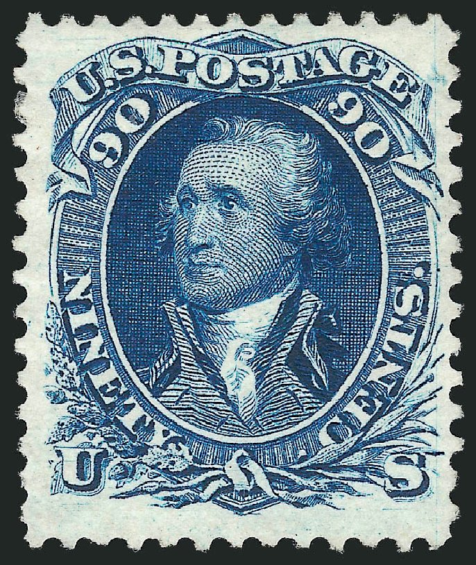 Values of US Stamps Scott Cat. #111 - 1875 90c Washington Without Grill. Robert Siegel Auction Galleries, Mar 2012, Sale 1021, Lot 287