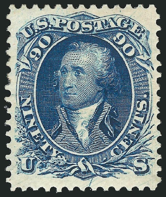 Values of US Stamp Scott Catalog 111: 90c 1875 Washington Without Grill. Robert Siegel Auction Galleries, May 2013, Sale 1044, Lot 97