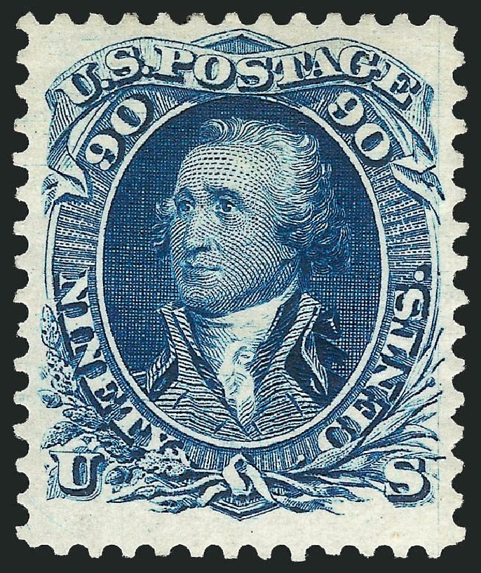 US Stamps Value Scott 111: 90c 1875 Washington Without Grill. Robert Siegel Auction Galleries, Sep 2014, Sale 1078, Lot 218
