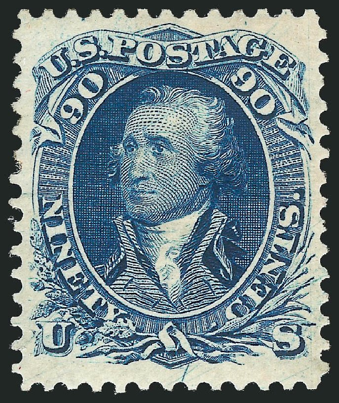 US Stamp Values Scott Cat. #111 - 1875 90c Washington Without Grill. Robert Siegel Auction Galleries, Jun 2015, Sale 1100, Lot 29