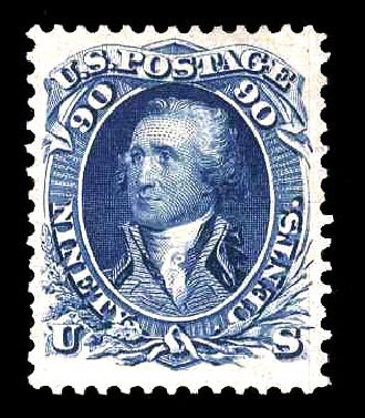 US Stamps Value Scott #111: 1875 90c Washington Without Grill. Cherrystone Auctions, Mar 2014, Sale 201403, Lot 24