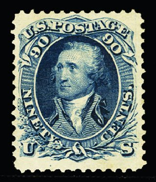 US Stamps Value Scott Catalog #111 - 1875 90c Washington Without Grill. Cherrystone Auctions, Nov 2013, Sale 201311, Lot 25