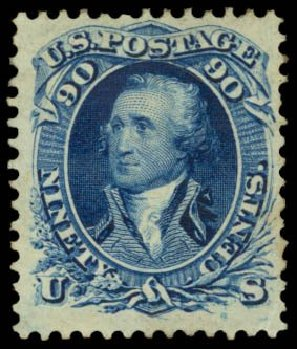 Values of US Stamps Scott Cat. # 111 - 90c 1875 Washington Without Grill. Daniel Kelleher Auctions, Dec 2014, Sale 661, Lot 115