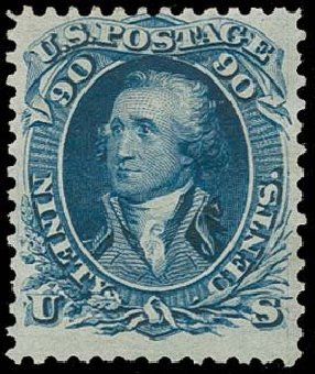 Values of US Stamps Scott Cat. 111: 1875 90c Washington Without Grill. H.R. Harmer, Oct 2014, Sale 3006, Lot 1162