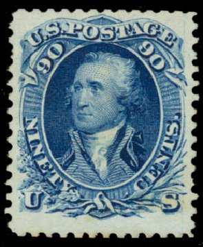 Value of US Stamp Scott Cat. 111 - 90c 1875 Washington Without Grill. Daniel Kelleher Auctions, Jan 2015, Sale 663, Lot 1332