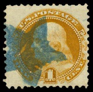 US Stamps Prices Scott Cat. # 112: 1c 1869 Pictorial Franklin. Daniel Kelleher Auctions, Aug 2015, Sale 672, Lot 2335