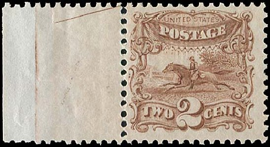 Cost of US Stamp Scott Cat. 113 - 1869 2c Pictorial Horse Rider. Regency-Superior, Aug 2015, Sale 112, Lot 244