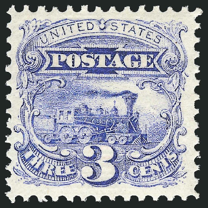 US Stamps Price Scott #114: 1869 3c Pictorial Locomotive. Robert Siegel Auction Galleries, Apr 2015, Sale 1096, Lot 218