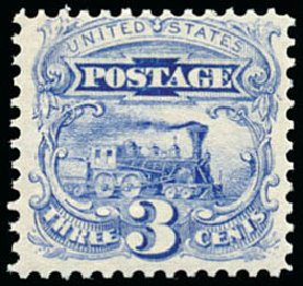 Costs of US Stamp Scott Cat. #114: 1869 3c Pictorial Locomotive. Schuyler J. Rumsey Philatelic Auctions, Apr 2015, Sale 60, Lot 2085