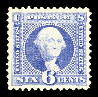 Values of US Stamps Scott Catalog 115 - 6c 1869 Pictorial Washington. Cherrystone Auctions, Jul 2015, Sale 201507, Lot 2049