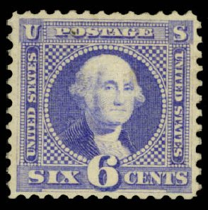 Value of US Stamp Scott Catalog 115: 1869 6c Pictorial Washington. Daniel Kelleher Auctions, Jan 2015, Sale 663, Lot 1339
