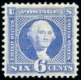 US Stamps Values Scott Catalogue #115: 1869 6c Pictorial Washington. Schuyler J. Rumsey Philatelic Auctions, Apr 2015, Sale 60, Lot 2086