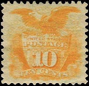 Values of US Stamp Scott Cat. 116 - 1869 10c Pictorial Shield Eagle. Regency-Superior, Jan 2015, Sale 109, Lot 749