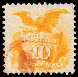 Values of US Stamp Scott # 116: 10c 1869 Pictorial Shield Eagle. Schuyler J. Rumsey Philatelic Auctions, Apr 2015, Sale 60, Lot 2089