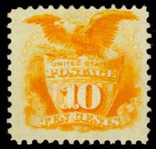 Value of US Stamps Scott Cat. # 116: 10c 1869 Pictorial Shield Eagle. Daniel Kelleher Auctions, Jan 2015, Sale 663, Lot 1341