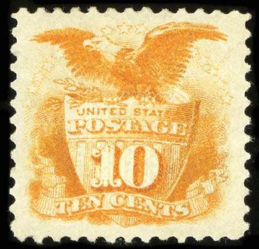 Costs of US Stamps Scott Catalogue # 116 - 1869 10c Pictorial Shield Eagle. Spink Shreves Galleries, Jul 2015, Sale 151, Lot 101