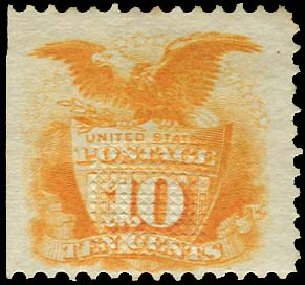 US Stamp Price Scott Catalog 116 - 10c 1869 Pictorial Shield Eagle. Regency-Superior, Aug 2015, Sale 112, Lot 255