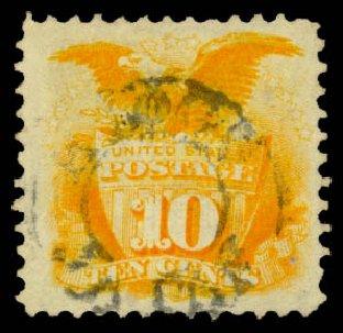 Values of US Stamp Scott Cat. # 116: 1869 10c Pictorial Shield Eagle. Daniel Kelleher Auctions, Aug 2015, Sale 672, Lot 2342
