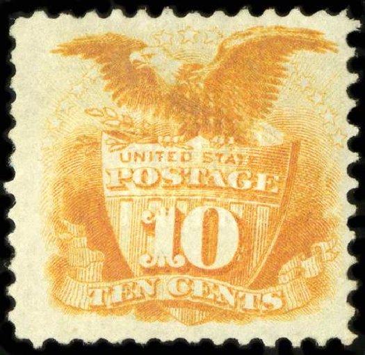 Value of US Stamp Scott Catalog #116: 1869 10c Pictorial Shield Eagle. Spink Shreves Galleries, Jul 2015, Sale 151, Lot 102