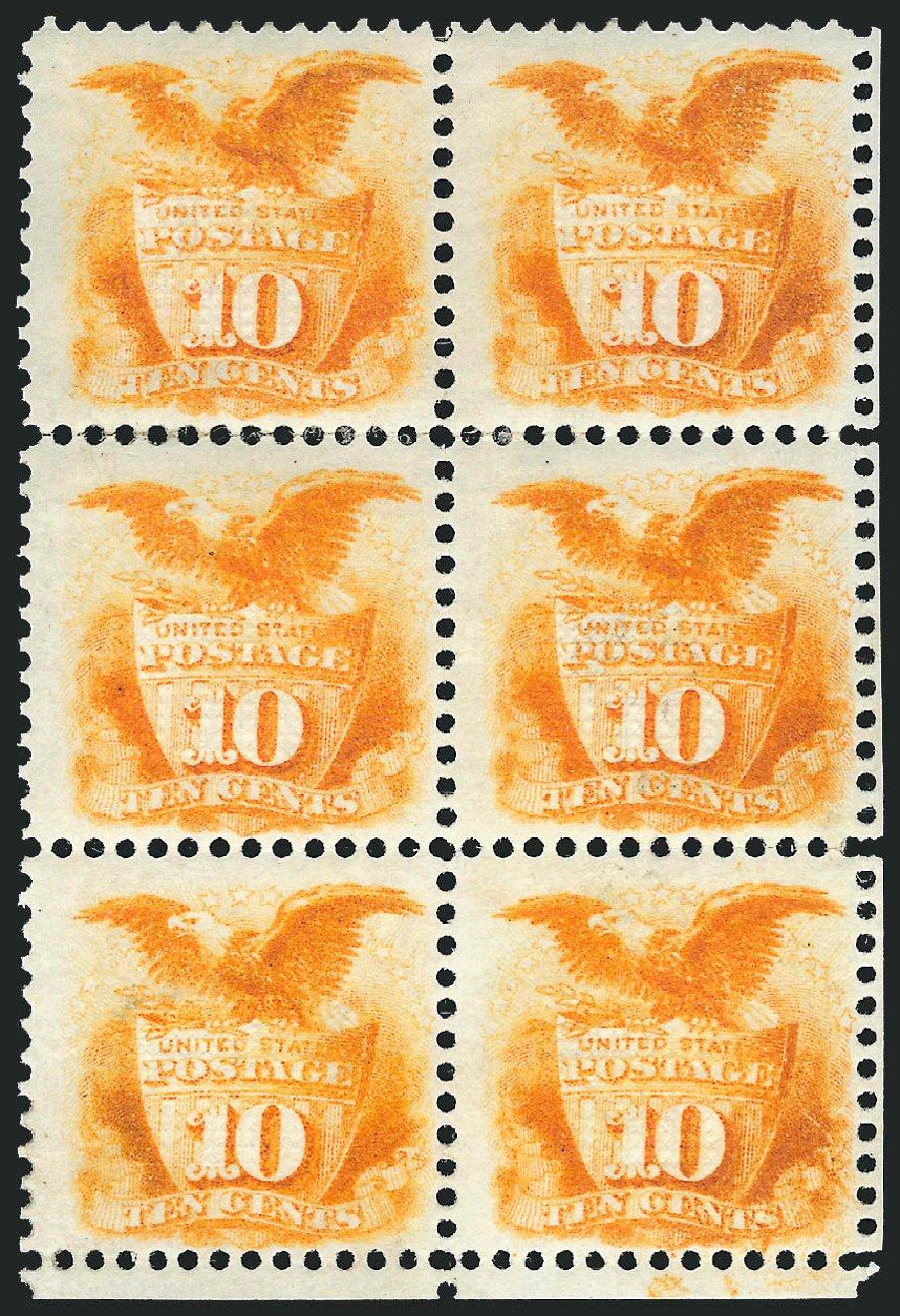 US Stamps Value Scott Catalogue 116 - 10c 1869 Pictorial Shield Eagle. Robert Siegel Auction Galleries, Apr 2015, Sale 1096, Lot 223
