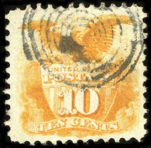 Value of US Stamp Scott Cat. 116 - 10c 1869 Pictorial Shield Eagle. Spink Shreves Galleries, Jul 2015, Sale 151, Lot 106