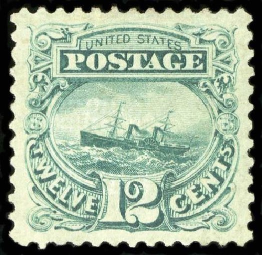 US Stamps Value Scott Catalogue # 117 - 12c 1869 Pictorial S.S. Adriatic. Spink Shreves Galleries, Jul 2015, Sale 151, Lot 107