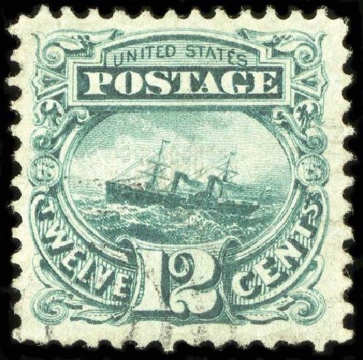 US Stamp Values Scott Cat. 117 - 1869 12c Pictorial S.S. Adriatic. Spink Shreves Galleries, Jul 2015, Sale 151, Lot 108