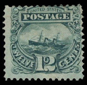 Costs of US Stamps Scott #117 - 1869 12c Pictorial S.S. Adriatic. Daniel Kelleher Auctions, May 2015, Sale 669, Lot 2569