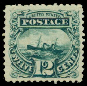 Prices of US Stamp Scott Cat. 117: 12c 1869 Pictorial S.S. Adriatic. Daniel Kelleher Auctions, May 2015, Sale 669, Lot 2570