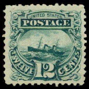 Prices of US Stamp Scott Cat. 117: 12c 1869 Pictorial S.S. Adriatic. Daniel Kelleher Auctions, May 2015, Sale 669, Lot 2570