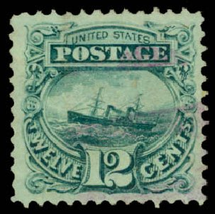 Value of US Stamps Scott 117 - 1869 12c Pictorial S.S. Adriatic. Daniel Kelleher Auctions, May 2015, Sale 669, Lot 2571