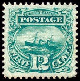 Cost of US Stamps Scott Catalog #117 - 1869 12c Pictorial S.S. Adriatic. Schuyler J. Rumsey Philatelic Auctions, Apr 2015, Sale 60, Lot 2091