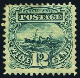 Price of US Stamps Scott Cat. # 117: 1869 12c Pictorial S.S. Adriatic. Harmer-Schau Auction Galleries, May 2015, Sale 105, Lot 114