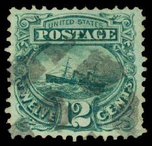 Price of US Stamps Scott Catalogue #117: 12c 1869 Pictorial S.S. Adriatic. Daniel Kelleher Auctions, Aug 2015, Sale 672, Lot 2345