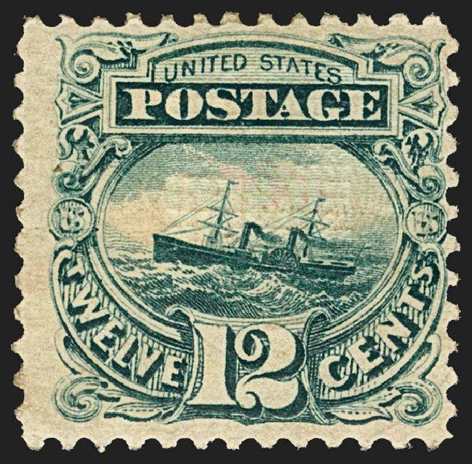 US Stamps Prices Scott Catalogue # 117 - 1869 12c Pictorial S.S. Adriatic. Robert Siegel Auction Galleries, Jul 2015, Sale 1107, Lot 236