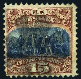 Price of US Stamps Scott Cat. 118: 1869 15c Pictorial Columbus. Harmer-Schau Auction Galleries, May 2015, Sale 105, Lot 117