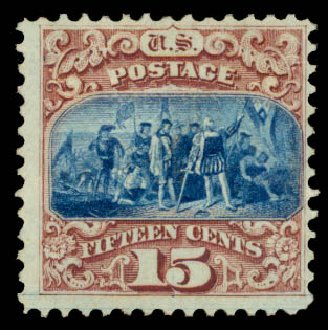US Stamp Values Scott # 118: 1869 15c Pictorial Columbus. Daniel Kelleher Auctions, Aug 2015, Sale 672, Lot 2347